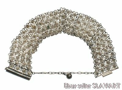 ANTIQUE Ottoman silver filigree bracelet ethnic folk costume Turkish Bulgarian