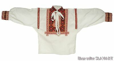 SLOVAK FOLK COSTUME handmade embroidered boy's shirt HELPA peasant ethnic red