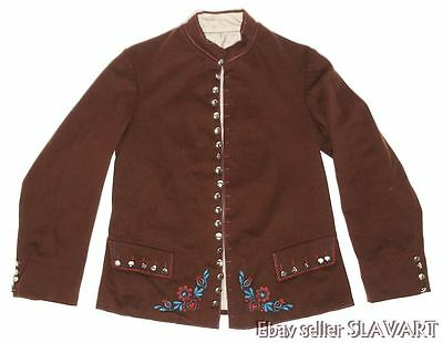 ANTIQUE Czech ethnic brown wool jacket coat embroidered folk costume Bohemian