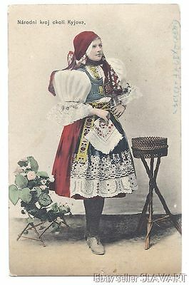 POSTCARD Czech Folk Costume Kyjov kroj Moravian ethnic dress antique photograph