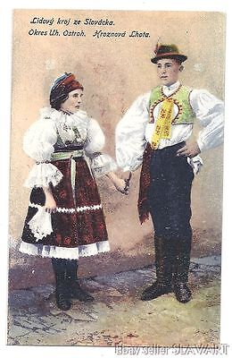 POSTCARD Czech Folk Costume Moravian Hroznova Lhota antique photograph KROJ art