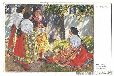 POSTCARD 1917 Czech Peasant Girls in Best Sunday Folk Costume CHODSKO Feldpost