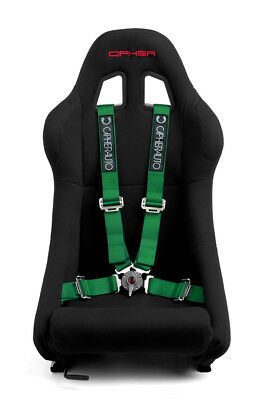 """Cipher Auto Racing Harness Set -Green 4 Point 2"""" w/ Camlock Quick Release - Pair"""