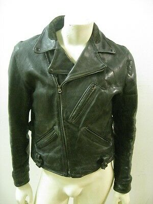 Vintage 1930s Police Black Leather Motorcycle Jacket Side Buckles Size MEDIUM