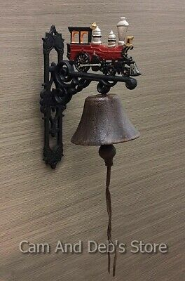 Cast Iron Train Door Bell Antique Style On Bracket Wall Mounted
