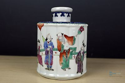 Beautiful  Fine Chinese Famille Rose porcelain character Tea Caddie