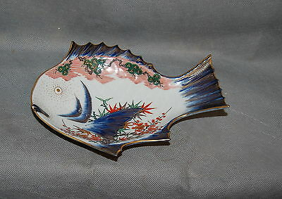 Antique Meiji Japanese Porcelain Arita Imari Fish Plate Gilt Bamboo Flowers