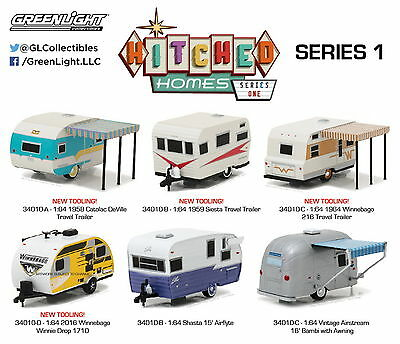 Set of 6: Greenlight Hitched Homes Series 1 Diecast Model Cars 1:64 Scale
