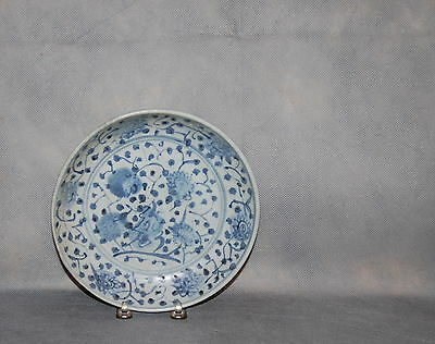 Antique Chinese Porcelain Peony Saucer Dish Shipwreck Ming Dynasty