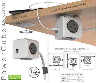Allocacoc Powercube Extended GREY with 1.5M Cable 4 Outlet and 2 x USB 2.1A