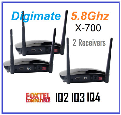 Digimate x-700 Wireless 5.8GHz HDMI AV Sender 2 Receivers Kit For Foxtel IQ2 3 4