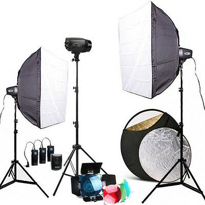 Pro Godox 450W 3* K-150A Studio Strobe Photography flash Light Stand Softbox Kit