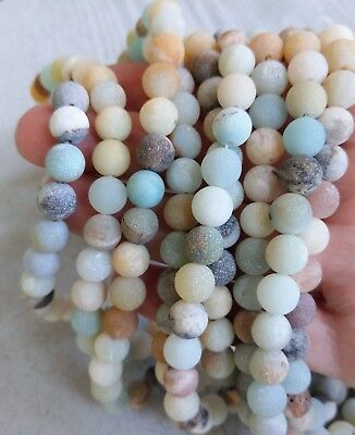 8mm Frosted Amazonite Bead Strands - 49 Beads - Multi-coloured Gemstone