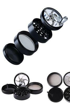 Tobacco Herb Grinder Spice Herbal Zinc Alloy Smoke Crusher 4 Piece 3 Inch Black