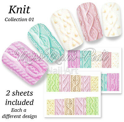 Pastel Knits Nail Art Water Decals, Stickers, Wraps, Wool Knitting Woolen BN520
