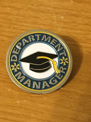 Rare Walmart Lapel Pin Department Manager Round Wal-mart Pinback