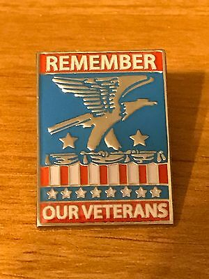 Rare Walmart Lapel Pin Remember Our Veterans Eagle Wal-mart Pinback