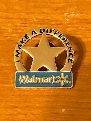 Rare Walmart Lapel Pin I Make A Difference Star Wal-mart Pinback