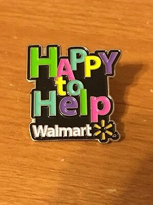 Rare Walmart Lapel Pin Happy To Help Slogan  Wal-mart Pinback
