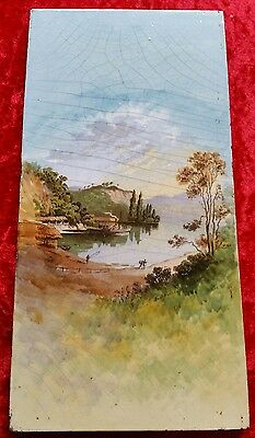 Antique Victorian BOAT HOUSE LOCH KATRINE Scotland Hand Painted Tile RARE
