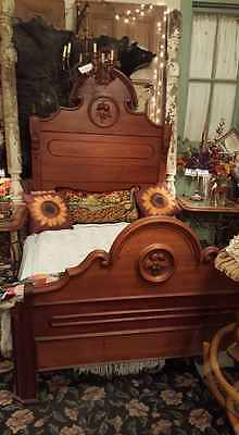 Antique Walnut Empire Victorian Wonderful carving & shaping Bed full/double