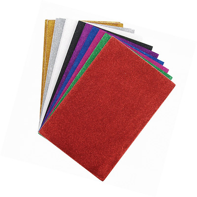 Darice 106-1009 12-Pack Foamies Sticky-Back Glitter Sheet, 6 by 9-Inch, Assorted