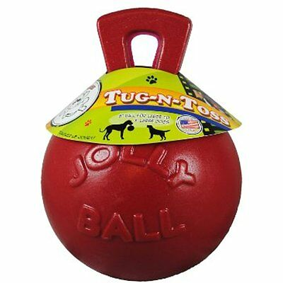 Jolly Pets Dog Chew Ball 10-Inch w/ Handle Tug-n-Toss Toys Extra Large Dogs Red