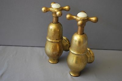 Brass Globe Taps Original Patina Kitchen Sink Or Bath Reclaimed Fully Refurbed
