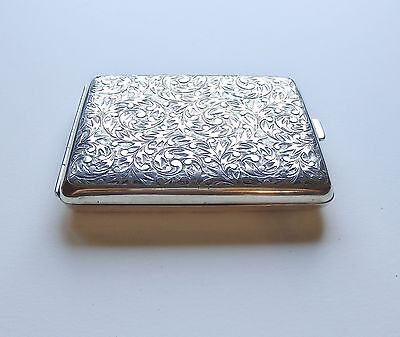 Vintage 1940s STERLING SILVER Engraved CIGARETTE Card CASE Compact 117 grams