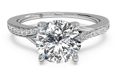 Real 14K Solid White gold 1.78ct Brilliant Anniversary Pave Engagement Ring
