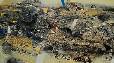 Abstract oil painting Original modern art on canvas expressionism birds signed