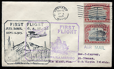 VIRGIN ISLANDS: (1760) 1929 double FFC to St. Thomas cancel/cover