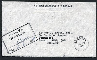 BARBUDA: (1761) 1969 WARDEN cancel/cover