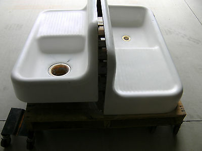 "2 Antique Cast Iron Porcelain 42"" Farm Sinks Vintage Kohler 1926 1929"