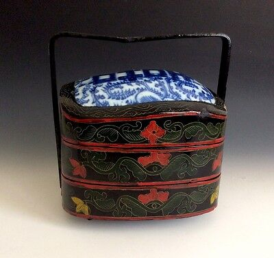 Antique Chinese Wedding Box Black Red lacquer Stacking Box With Porcelain Inset