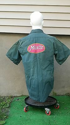 Vintage Moxie Soda Delivery Man Olive Chambray Uniform Work Shirt 2 Patches Htf