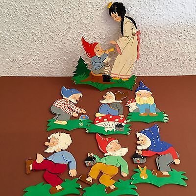 🍄534: German Vintage Childhood Wall Figures 🌲 COMPLETE SNOW WHITE Hand-Painted