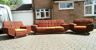 Vintage Mid Century 3 Piece Suite Funky Spaceage G Plan Style Sofa Armchairs