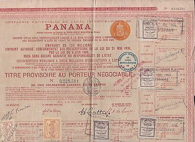 France 1888, Interoceanic Panama Canal Shares Certif. With 11 Revenues