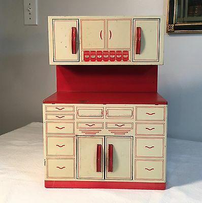 Vintage 1950's Wolverine Tin Toy Cabinet - Red & White Litho