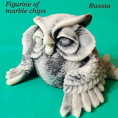Owl figurine marble chips from Russia forest birds Souvenirs tiny owlet