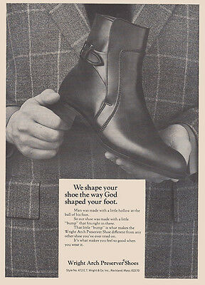 1970 Wright Arch Preserver Shoes: The Way God Shaped Your Foot (27344) Print Ad