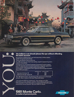 1981 Chevrolet Monte Carlo: You Believe a Car Should (27695) Print Ad