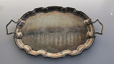 Large Vintage Butler Silver Plated Serving Tray w/ Handles Made in England