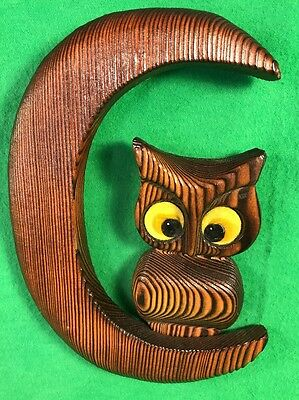 VTG Retro Wooden Owl Wall Hanging Sitting on Moon Shaped Branch Yellow Eyes