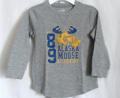 Boys 4T Gray Alaska Snorting Moose Academy Shirt Nwt The Children's Place