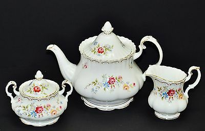 Royal Albert Jubilee Rose Large Teapot Creamer Jug & Sugar Bowl Set