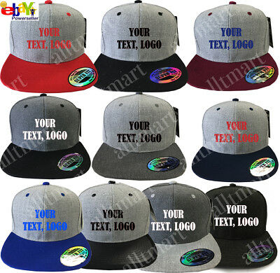 New Printed Text Logo Custom Personalized Flat Bill Premium Snapback Hat Cap