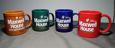 LOT Set of 4 Vintage 1980's Maxwell House Rare Instant and Drip Coffee Mugs