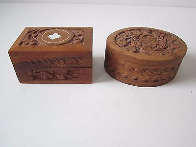 Vintage Carved Wood Trinket Boxes, Lot Of 2. Good collectible & Usable Cond.